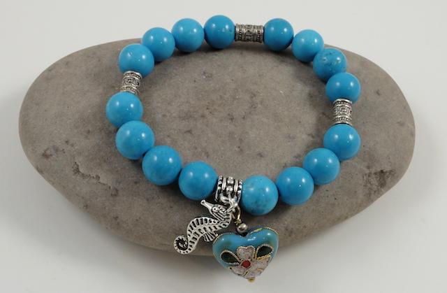 Turquoise & cloisonne heart bracelet 2