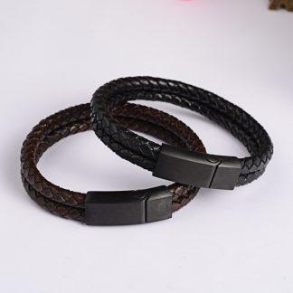 Double band leather bracelet & gunmetal clasp
