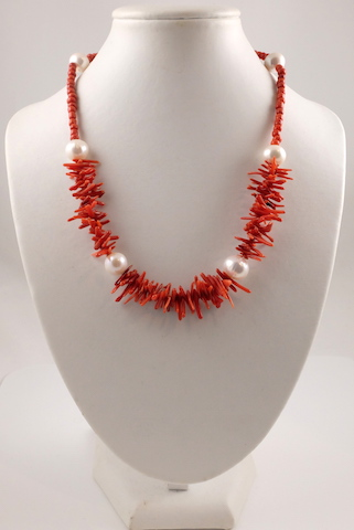 Coral & Pearl necklace 3