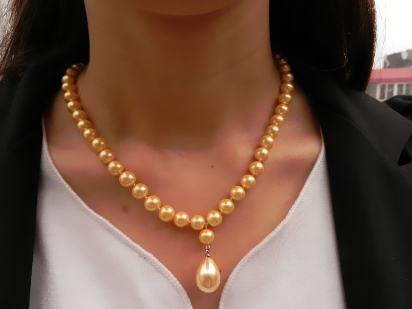 Gold Shell Pearl Necklace