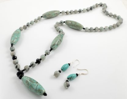 Tianshan Lan Jasper Y Necklace & Earrings