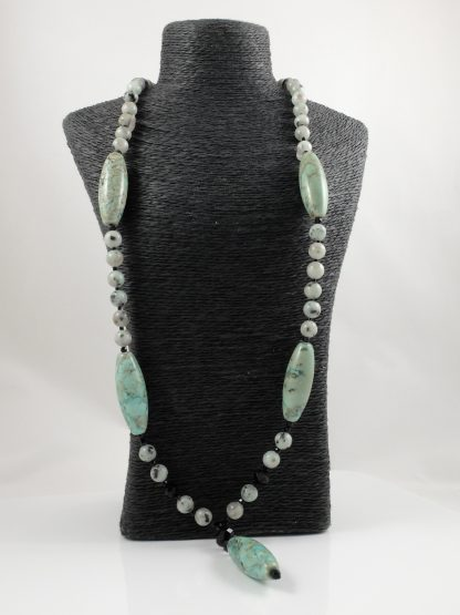 Tianshan Lan Jasper Y Necklace & Earrings 2