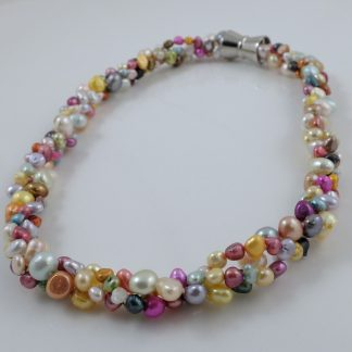 Rainbow Pearl Cluster Necklace