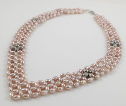 Pink Pearl V Collar Necklace
