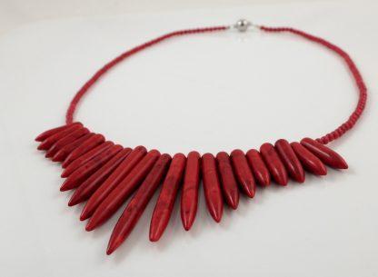 Red Howlite Alternative Style Necklace