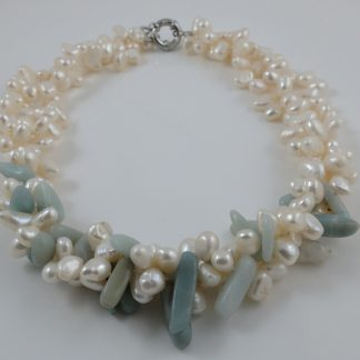 White Peal & Amazonite Necklace