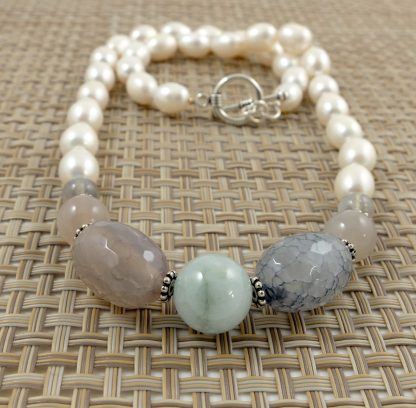 Mixed gemstone & white rice pearl necklace