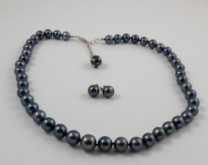 8-9mm black round pearl & studs set