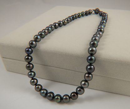 8-9mm Black Round Pearl necklace