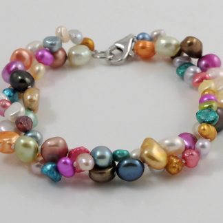 2 strand colourful baroque pearl bracelet