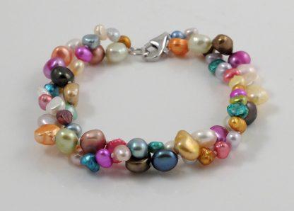 2 strand colourful baroque pearl bracelet