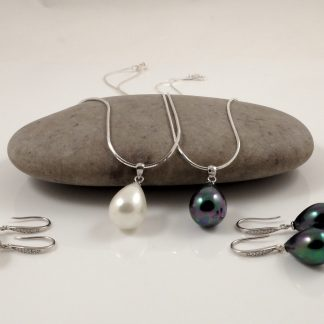 Silver White Black Seashell Pearl Sets