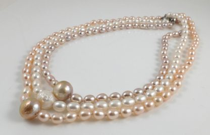 3 Colour Hedgehog Pearl & Rice Pearl Necklaces