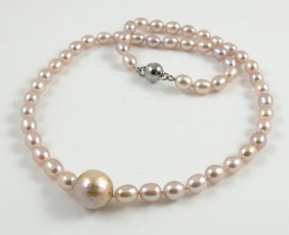 Purple Hedgehog Pearl & Rice Pearl Necklace