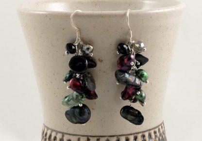 Black Red Green Pearl & Shell earrings