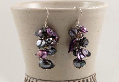 Black Purple Pearl & Shell earrings