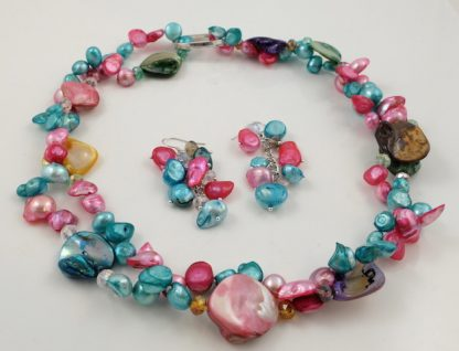 Turquoise Pink Pearl & Shell Set