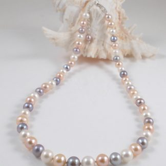 Multi-colour round pearl necklace(8mm)-1